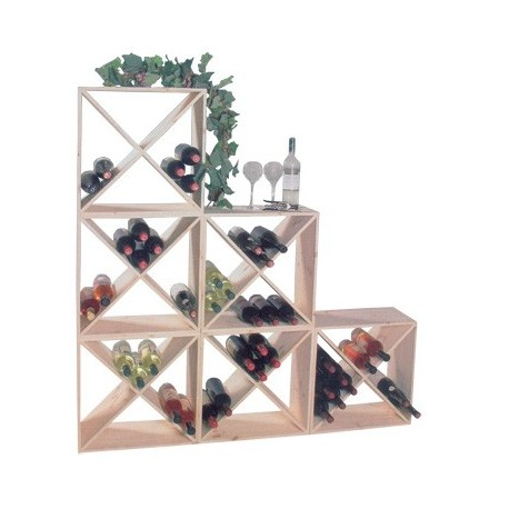 Wine-rack modular wood for 24 bottles