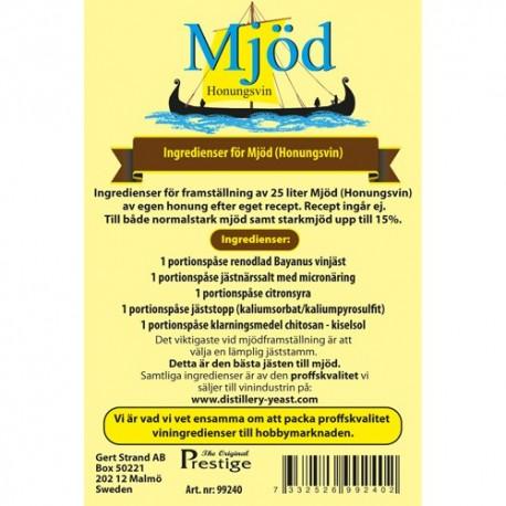 Mead ingredients kit for 25 liters.