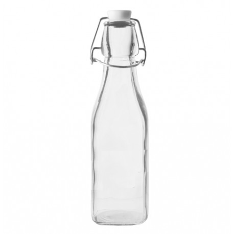 250 ml kvadrātaina stikla pudele ar stieples korķi