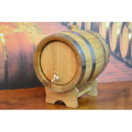 Oak barrel 6L with crane and stainless steel rings