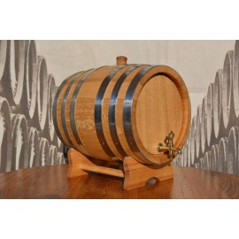Oak barrel 15L with crane and 6 stainless steel rings