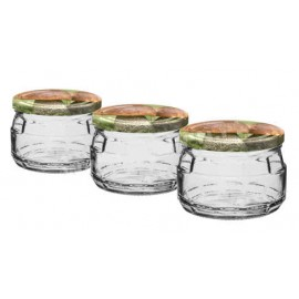 Glass jar 240ml (3 pcs.) with thread and cap ᴓ82