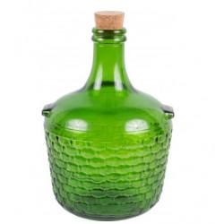 Stiklo balionas su kamštienos 4L žalia