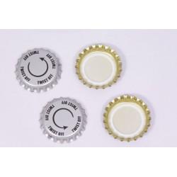 Twist-off metallist korgid õllepudeleid, Ø26mm, 100 gb.
