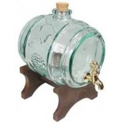 Декоративный стеклянный бочонок с подставкой и краном 2л