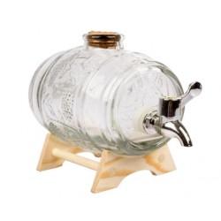 Dekoratīva stikla muciņa ar paliktni un krānu 1000ml