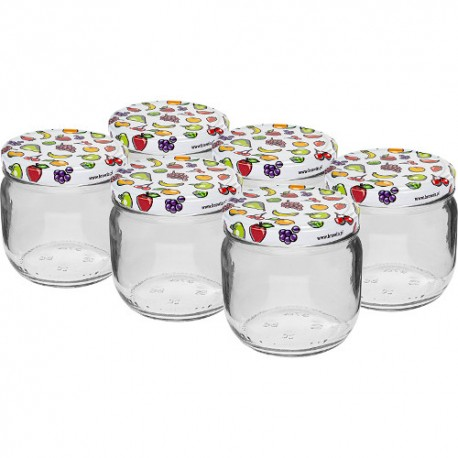 Glass jar 370ml with thread and cap Ø82mm (6 pcs.)