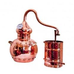 Destil?cijas apar?ts Coppers Traditional Alembic Still 30L ar ieb?v?tu termometru un skr?v?jamiem savienojumiem
