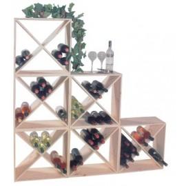 Wine-rack modular wood for 24 bottles
