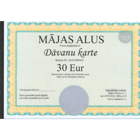 D?vanu karte 30 EUR v?rt?b?