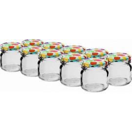 40 ml stikla burciņa ar krāsainu skrūvējamu vāciņu Ø 43 - 10 gab