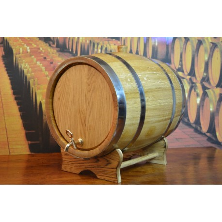 Oak barrel 50L with crane and stainless steel rings