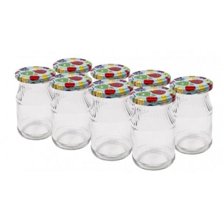 180 ml stikla burka ar krāsainu skrūvējamu vāciņu (augļi) Ø53mm iepakojums 8 gb