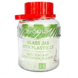 2 L stikla burka ar plastmasas vāku un rokturi