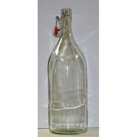 Glasflasche 2 L mit Keramikverschluss.