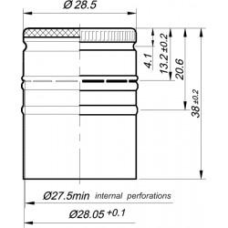 Aliuminio dangtelis, be sriegio ?28 x h38mm 2000gb. (EPE), bordo