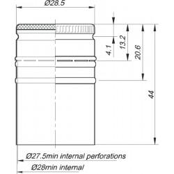Aliuminio dangtelis, be sriegio ?28 x h44mm 1700gb. (EPE), juodas