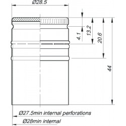 Aluminum closure ?28 x h44 mm Black color (EPE) 1700 pcs