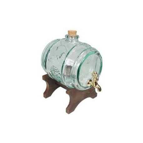 Decorative glass barrel with stand and tap 2 L