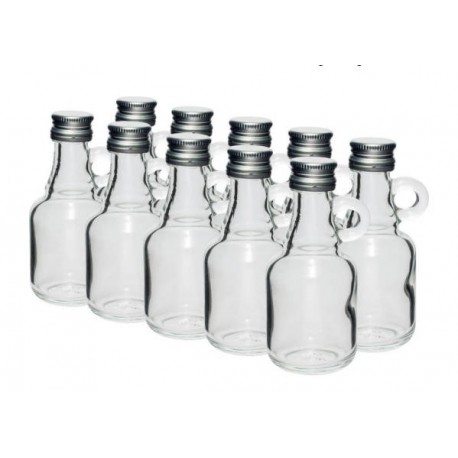 Stikla pudelītes 40ml ar skrūvējamu vāciņu 10 gab.