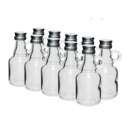Stikliniai buteliai 40ml su užsukamu dangteliu 10 vnt.