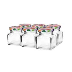120 ml stikla burka ar krāsainu skrūvējamu vāciņu Ø 53 - 6 gab.