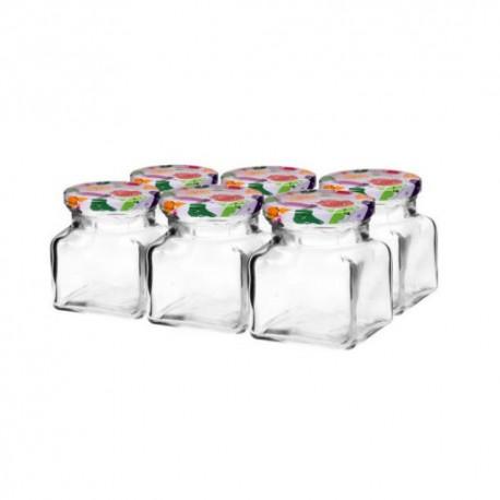 Glas 120ml quadratisch mit Faden und Kappe 53 (6er Pack)