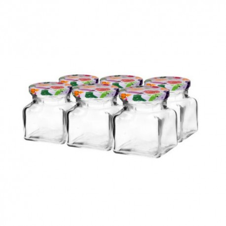 Glass jar 120ml with thread and cap ?53?? (6 pcs.in package)