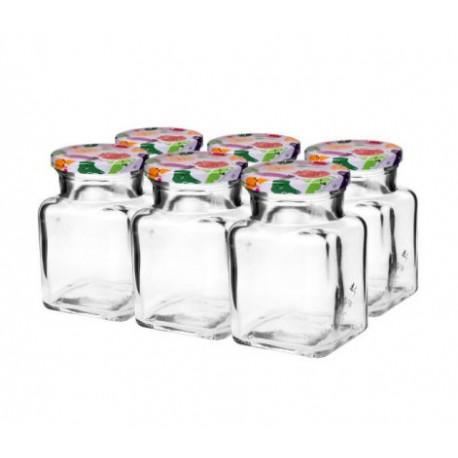 Stiklo indas 150ml su sriegiu ir dangteliu Ø53mm (6 vnt.)