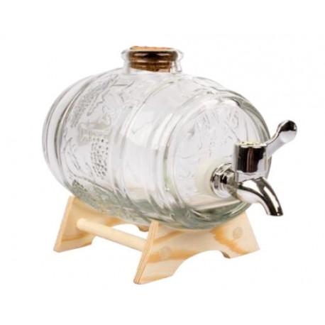 Dekoratives Glasfass mit Tablett und 1000 ml Wasserhahn