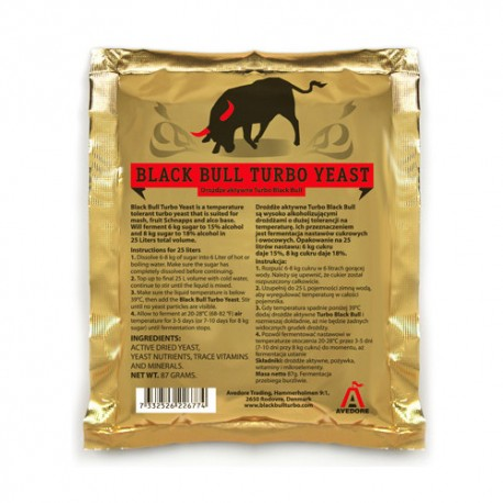 Super aktyvios mieles Black Bull Turbo Yeast 14-18% (25L)