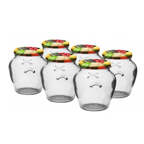 Glass jar 550ml (6 pcs.) with thread and cap ?82