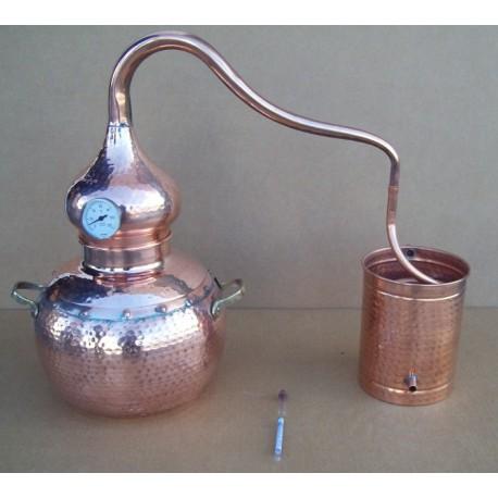 Destil?cijas apar?ts Coppers Traditional Alembic Still 10L ar ieb?v?tu termometru