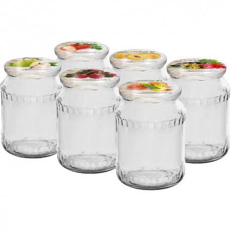 Glas 720 ml mit Faden und Deckel (6er Packung)
