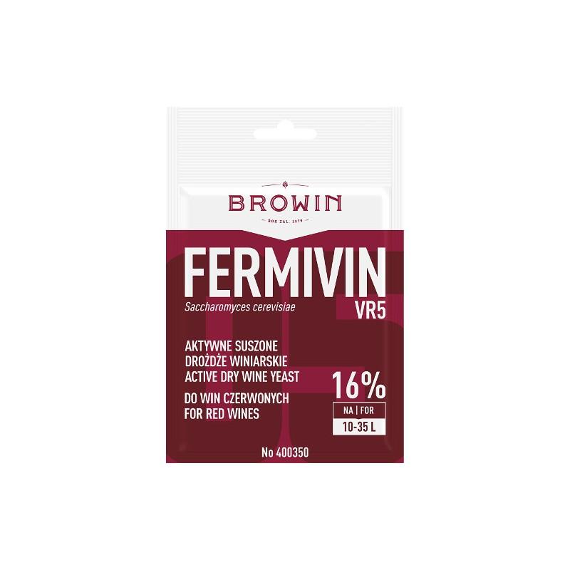 Vīna raugs FERMIVIN VR5 (sausais) sarkanvīniem 15% 7g