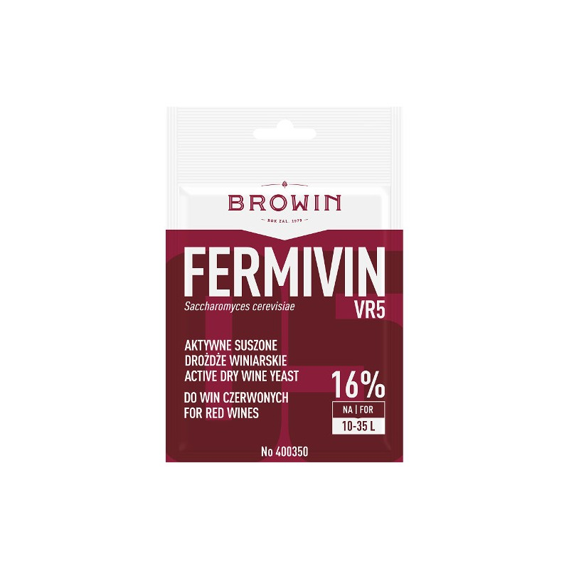 Yeast fYeast for wine FERMIVIN VR5 (dry) red wine 15% 7g