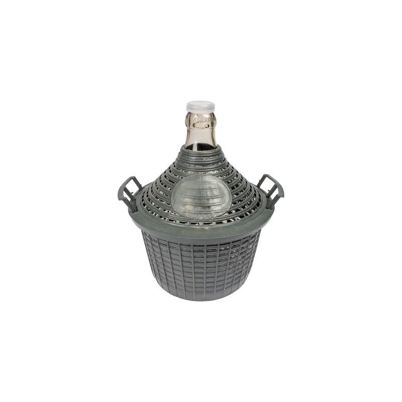 5L stiklinis vyno butelis plastikiniame krepšelyje siauru kaklu