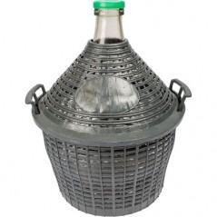 10L Glas Weinflasche in einem Plastikkorb mit schmalem Hals