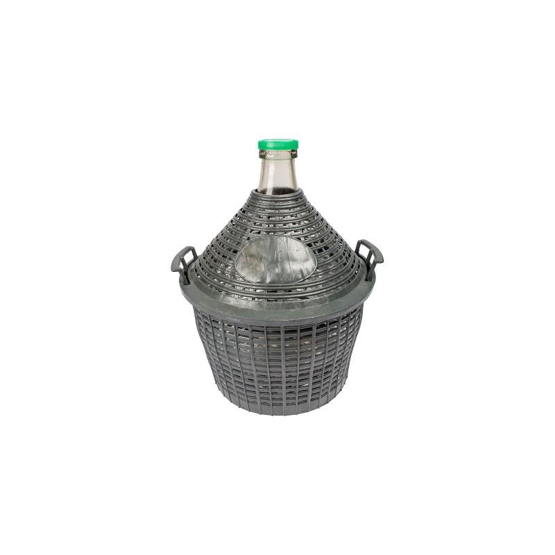 10L stikla vīna balons plastmasas grozā ar šauru kaklu