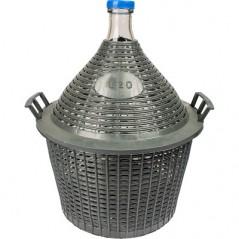 20L stiklinis vyno butelis plastikiniame krepšelyje siauru kaklu