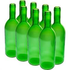 750 ml vīna pudeles zaļas - 8 gab.