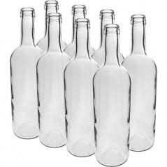 750 ml caurspīdīga vīna pudele, 8 gab.