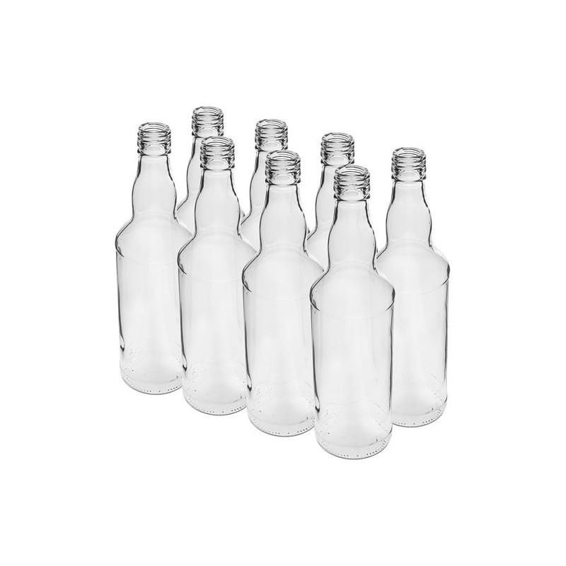 Stikla pudeles degvīnam 0,5L ar vītni Ø28 -  8 gab.