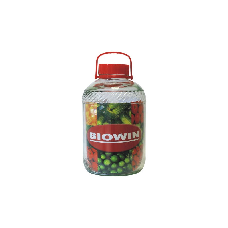 Glass jar with plastic lid and handle 12L