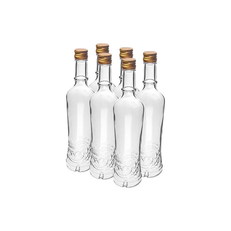 Stikla pudele 500ml ar skrūvējamu korķi (iep. 6 gab.)