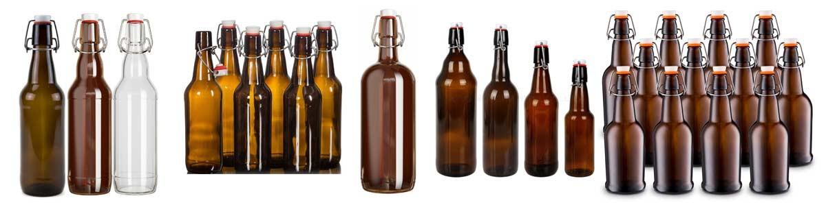 Stikla pudeles ar keramiskiem korķiem